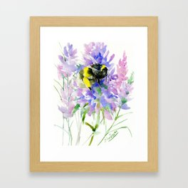 Bumblebee and Lavender Flowers Framed Art Print