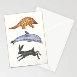 Pangolin, dolphin and a hare Stationery Cards