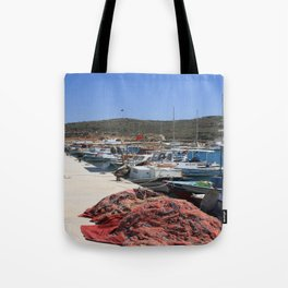 Red Fishing Net and Fishing Boats in Datca Tote Bag