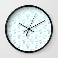dolphins Wall Clocks featuring Dolphins by Lizzy Watkins