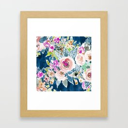 NAVY SO LUSCIOUS Colorful Watercolor Floral Framed Art Print