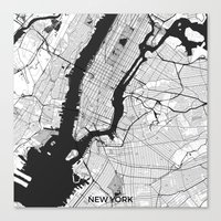 new york map Canvas Prints featuring New York Map Gray by City Art Posters