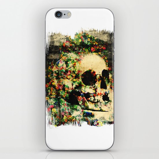floral skully 2 iPhone & iPod Skin