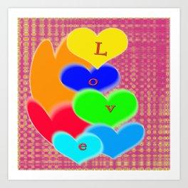 coloured love hearts Art Print
