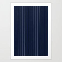 Navy Blue & Gray Pinstripe Art Print
