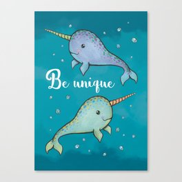 Be Unique Narwhals Canvas Print