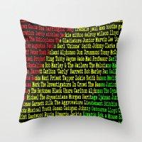 reggae Throw Pillows featuring Reggae Artist - Roll Call by The Peanut Line