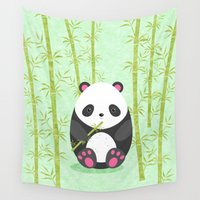 panda Wall Tapestries featuring Panda  by eDrawings38