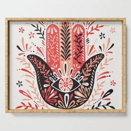 Hamsa Hand – Red & Black Palette Serving Tray