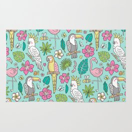 Tropical Jungle Birds Toucan Flamingo and Pink Hibiscus Floral Flowers Leaves Paradise Mint Rug