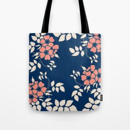 FLORAL IN BLUE AND CORAL Tote Bag