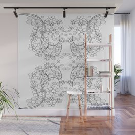 Graphic with flowers. Wall Mural