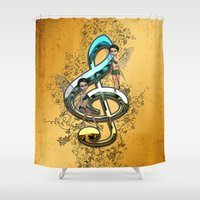 decorative Shower Curtains featuring Decorative clef  by nicky2342