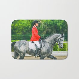 Beautiful girl riding a gray horse Bath Mat