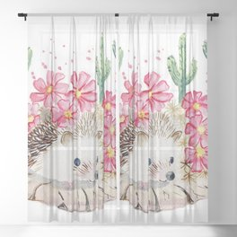 Camouflage - Hedgehog and Cactus Sheer Curtain