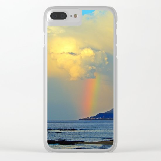 Rainbow on the Coastal Town Clear iPhone Case