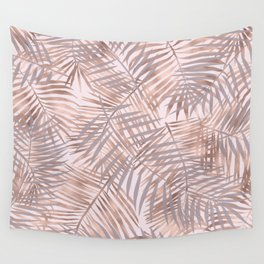 Shady rose gold palms Wall Tapestry