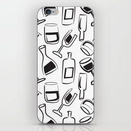 Wine Lovers Illustrated Wine Glasses and Wine Bottles iPhone Skin