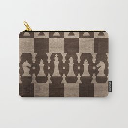 Chess Pieces Pattern - wooden texture Carry-All Pouch