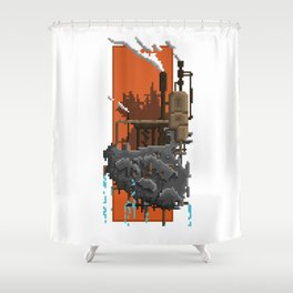 Pixel Landscape : Steam Factory Shower Curtain