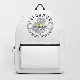 Quito, Ecuador Road Map Art - Earth Tones Backpack