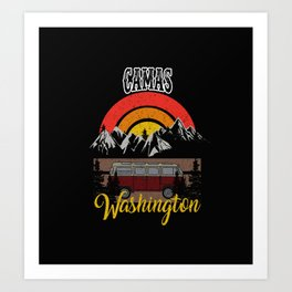Camas Washington Vintage Camping Retro Custom Women Art Print