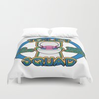 toilet Duvet Covers featuring Toilet Squad by Justin Kedl