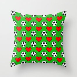 Soccer Balls And Red Hearts Pattern Throw Pillow
