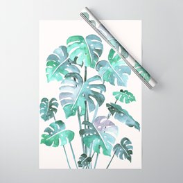 Delicate Monstera Blue And Green #society6 Wrapping Paper