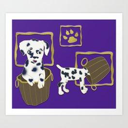 Purple puppy antics   Puppies at play Art Print