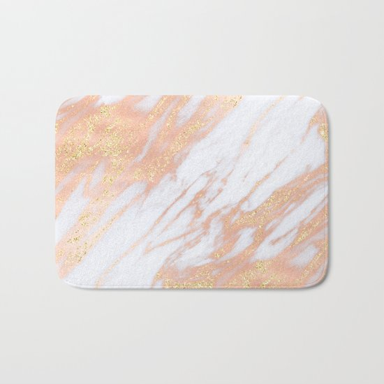 Marble - Rose Gold with Yellow Gold Glitter Shimmery Marble Bath Mat