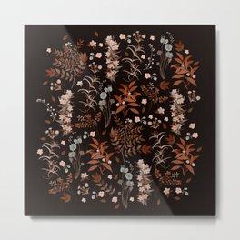 Vintage Autumn Florals on Dark Background Metal Print