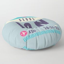 Retro Airline Luggage Tag - ICN Seoul Korea Floor Pillow
