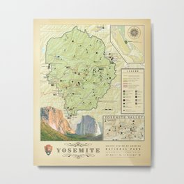 Yosemite National Park Map {Color Version} Print Metal Print