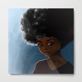 Afro Character Portrait Metal Print