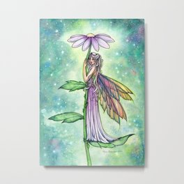 Starry Garden Flower Fairy Illustration by Molly Harrison Metal Print
