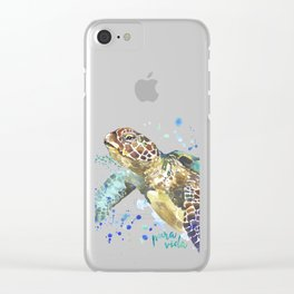 Sea Turtle Pura Vida Watercolor Clear iPhone Case
