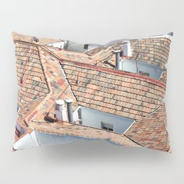 Old houses with tiled roofs Pillow Sham