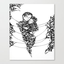 Lover's Embrace Pen and Ink Canvas Print