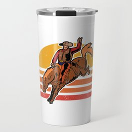 Vintage Cowboy Bucking Horse Rodeo Gift Travel Mug