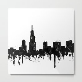 Watercolor Chicago Skyline Metal Print