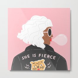 She is Fierce Pink Metal Print