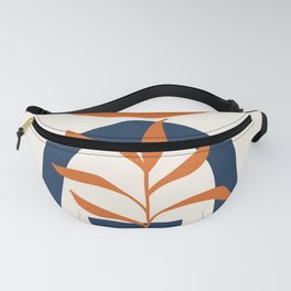 Abstract Shapes 58 in Orange and Navy Blue (Sun, Rainbow and Plant Abstraction) Fanny Pack