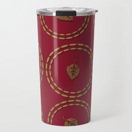 Bright Burgundy Red Gold Leaf Pattern Travel Mug