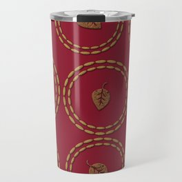 Bright Burgundy Red Copper Leaf Pattern Travel Mug