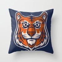 shield Throw Pillows featuring Tiger Shield by WanderingBert / David Creighton-Pester