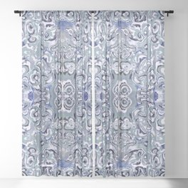 Periwinkle Oyster Farm Sheer Curtain