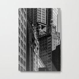 Close-up view of skyscrapers in Financial District Lower Manhattan New York City Metal Print