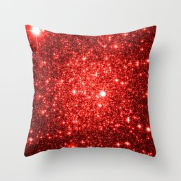 GalaXy : Red Glitter Sparkle Throw Pillow