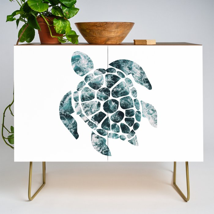 Sea_Turtle__Turquoise_Ocean_Waves_Credenza_by_Gypsy_Queen__Gold__Walnut
